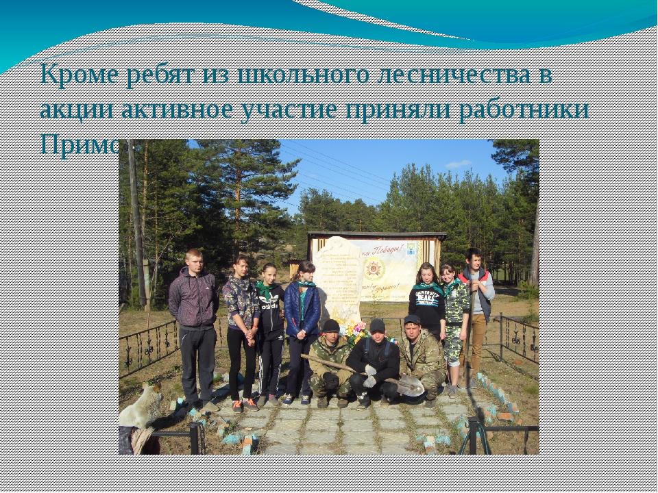 Кроме ребят из школьного лесничества в акции активное участие приняли работни...