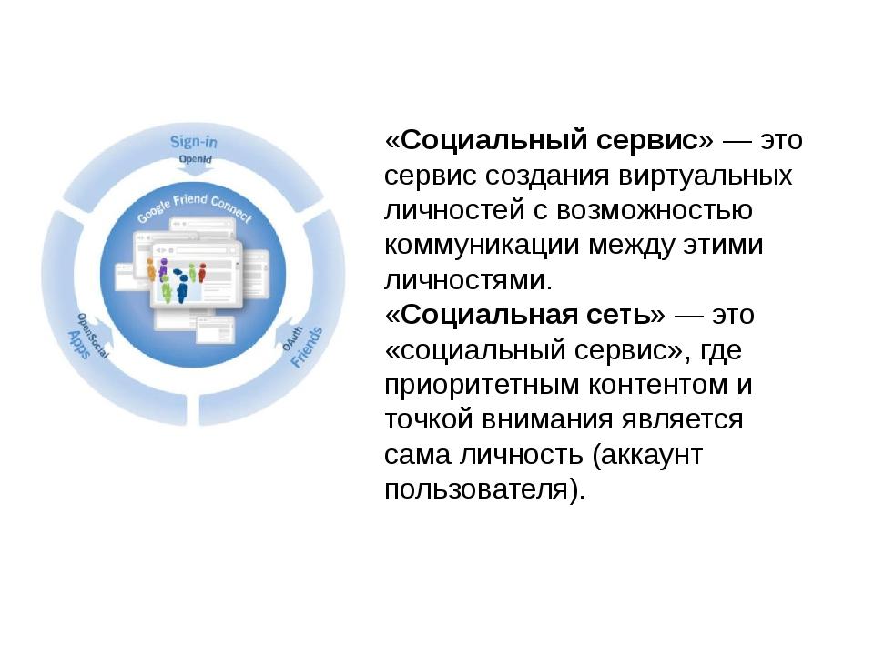 «Социальный сервис»— это сервис создания виртуальных личностей с возможность...
