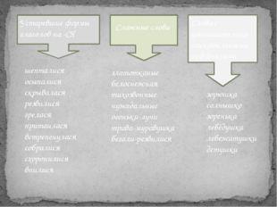 Устаревшие формы глаголов на -СЯ Сложные слова Слова с уменьшительно-ласкате