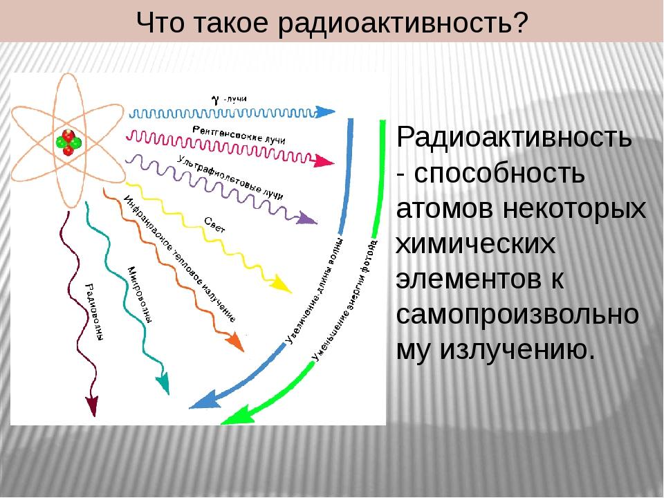 Что такое радиоактивность? Радиоактивность - способность атомов некоторых хим...