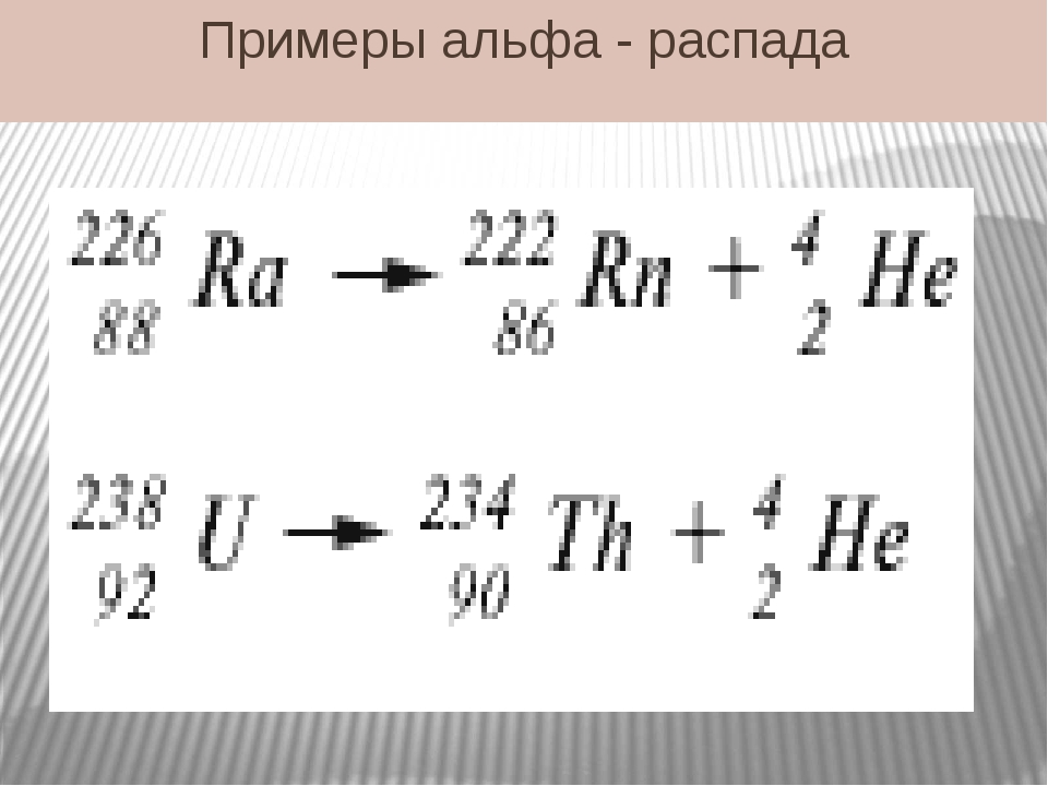 Примеры альфа - распада