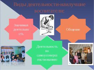 Значимая деятельность Общение Виды деятельности-наилучшие воспитатели: Деятел