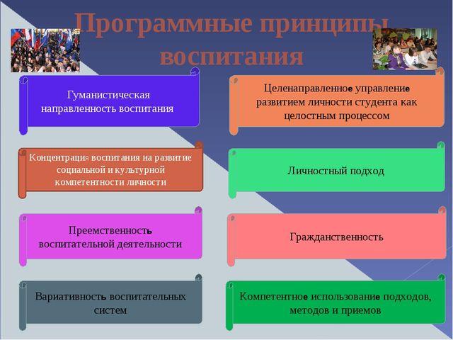 Программные принципы воспитания Преемственность воспитательной деятельности Ц...
