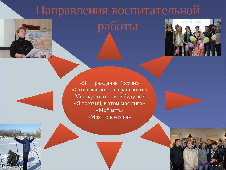Направления воспитательной работы «Я – гражданин России» «Стиль жизни - толе...