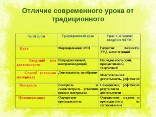 Отличие современного урока от традиционного КритерииТрадиционный урокУрок в