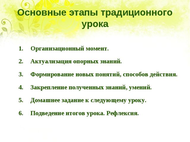 Основные этапы традиционного урока 1.Организационный момент. 2.Актуализация...