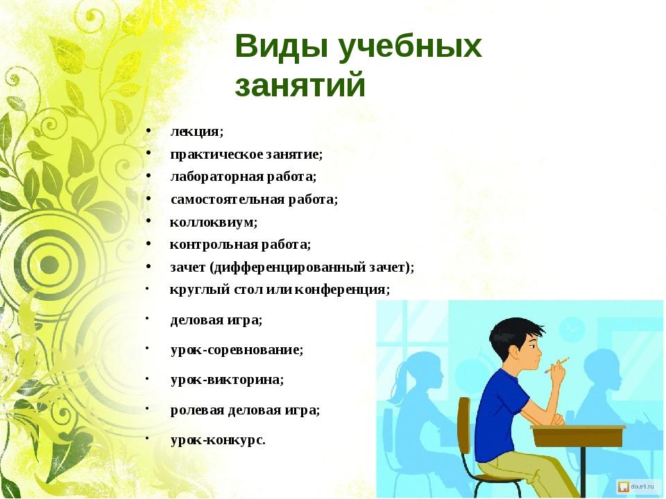 Виды учебных занятий лекция; практическое занятие; лабораторная работа; самос...