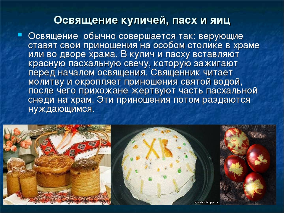 Освящение куличей, пасх и яиц Освящение обычно совершается так: верующие став...