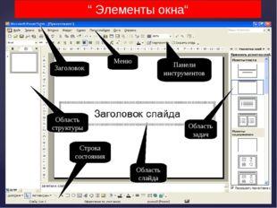 Заголовок Меню Панели инструментов Область задач Область слайда Область струк