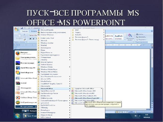 ПУСК ВСЕ ПРОГРАММЫ MS OFFICE MS POWERPOINT