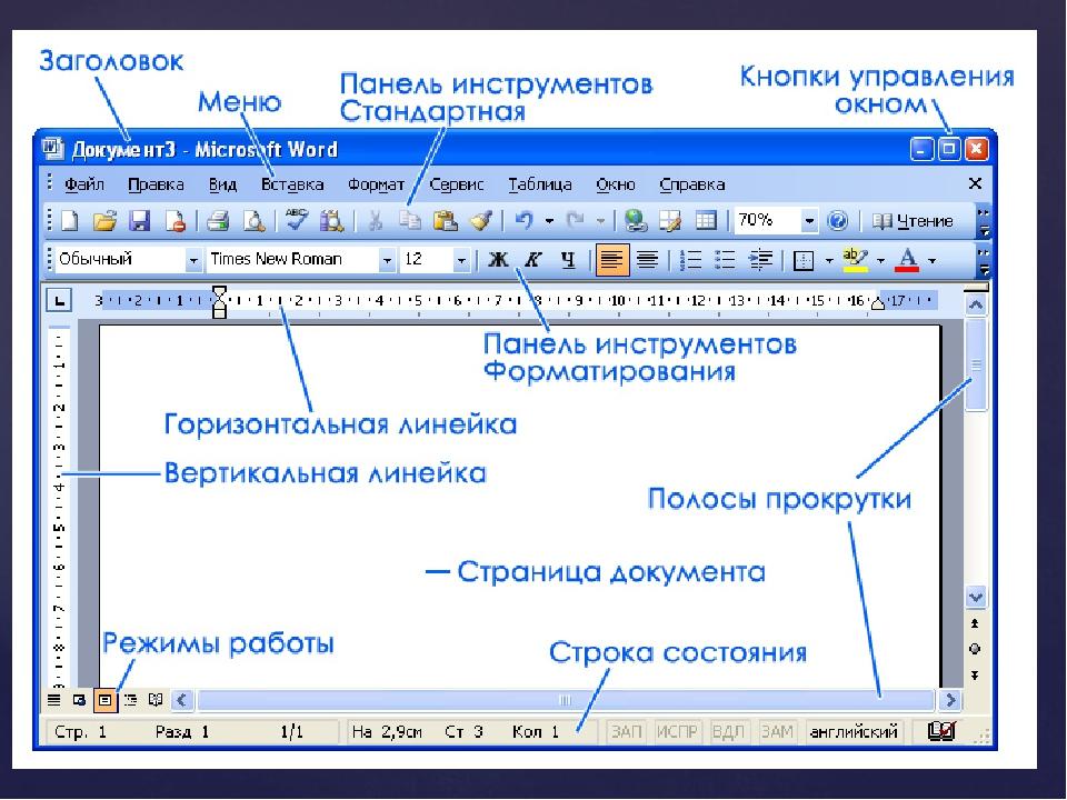Рассмотрим основные элементы окна