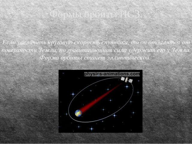 Формы орбиты ИСЗ. Если увеличить круговую скорость спутника, то он отдалится...