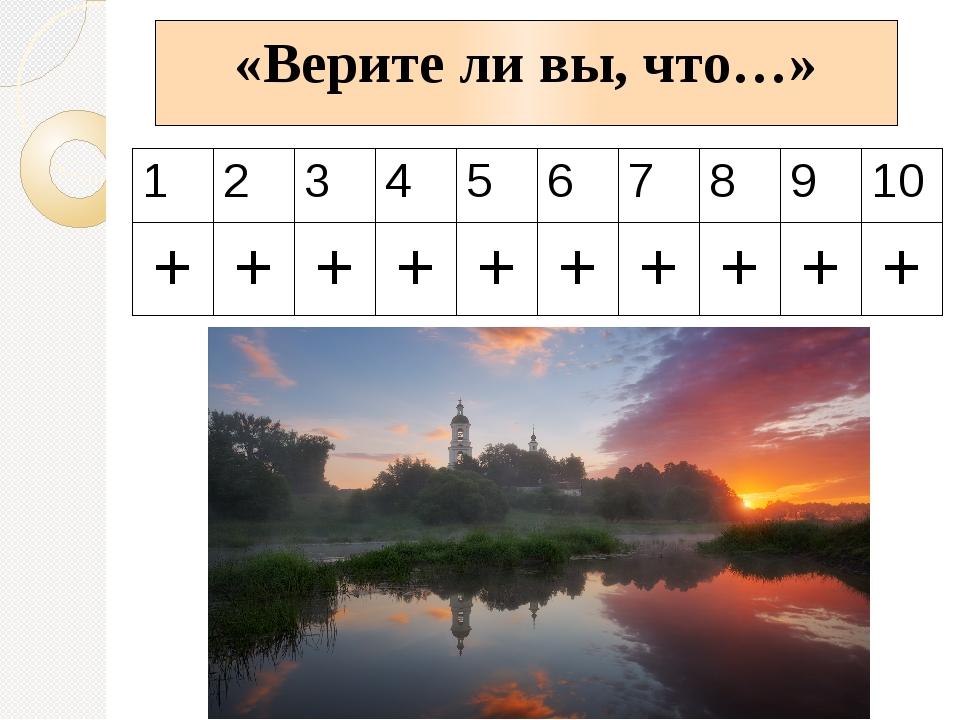 «Верите ли вы, что…» 1 2 3 4 5 6 7 8 9 10 + + + + + + + + + +