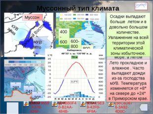 Муссонный тип климата Дальний Восток -28° -24° -20° +8° +20° +24° 400- 600 6