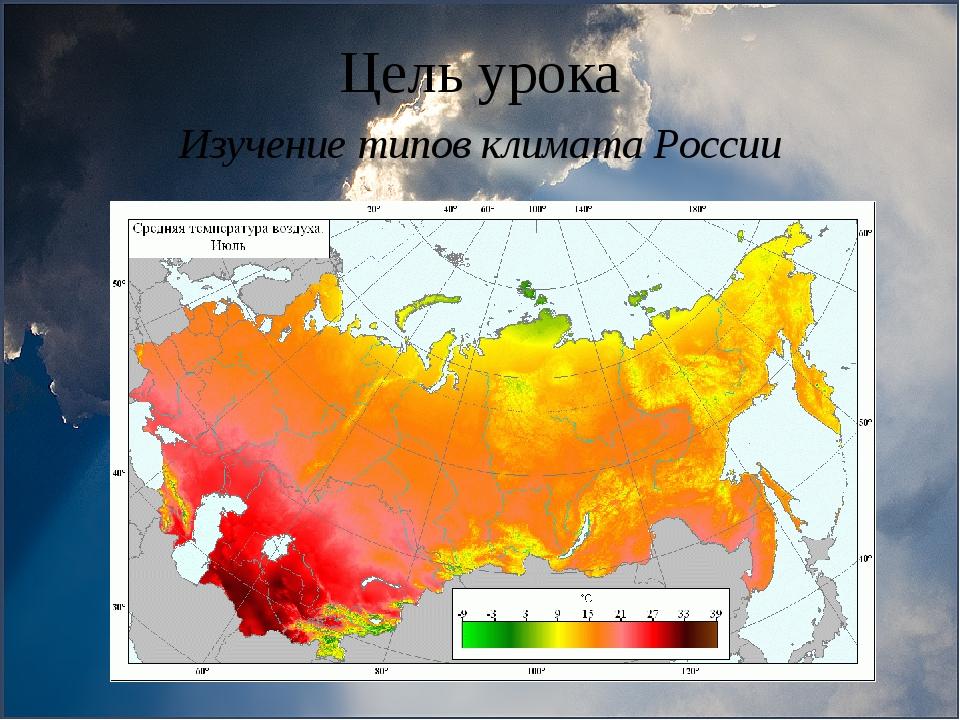 Цель урока Изучение типов климата России