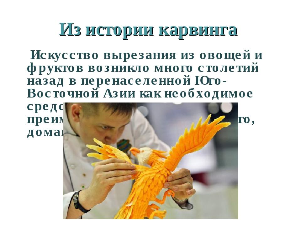 Из истории карвинга Искусство вырезания из овощей и фруктов возникло много ст...