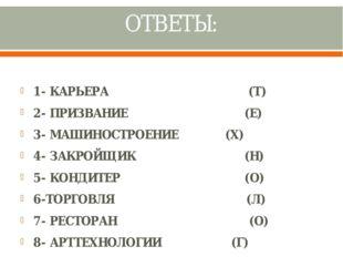 ОТВЕТЫ: 1- КАРЬЕРА (Т) 2- ПРИЗВАНИЕ (Е) 3- МАШИНОСТРОЕНИЕ (Х) 4- ЗАКРОЙЩИК (Н