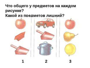 Что общего у предметов на каждом рисунке? Какой из предметов лишний? 1 2 3