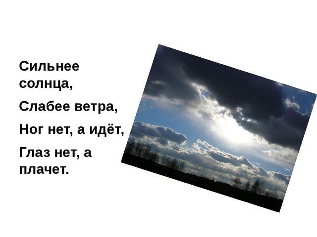 Сильнее солнца, Слабее ветра, Ног нет, а идёт, Глаз нет, а плачет.