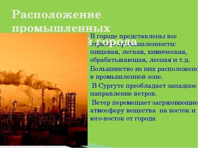 В городе представлены все отрасли промышленности: пищевая, легкая, химическая...