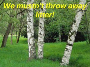We mustn't throw away litter!