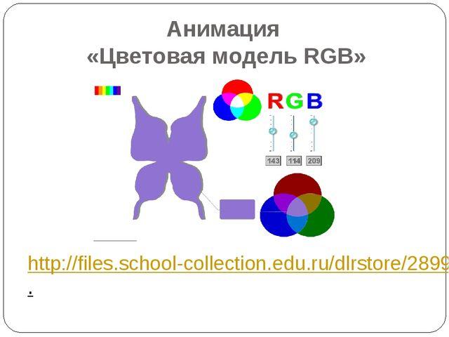 Анимация «Цветовая модель RGB» http://files.school-collection.edu.ru/dlrstore...