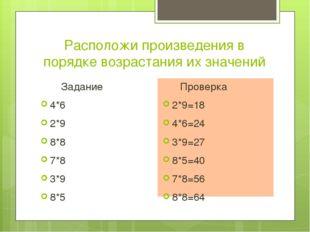Расположи произведения в порядке возрастания их значений Задание 4*6 2*9 8*8