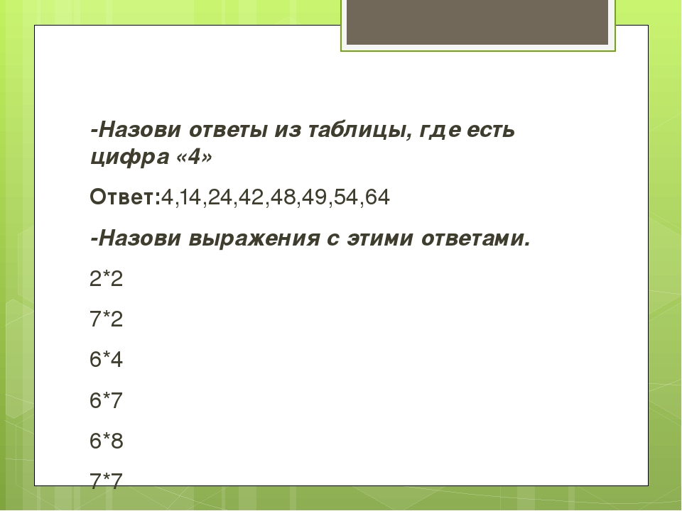 -Назови ответы из таблицы, где есть цифра «4» Ответ:4,14,24,42,48,49,54,64 -...