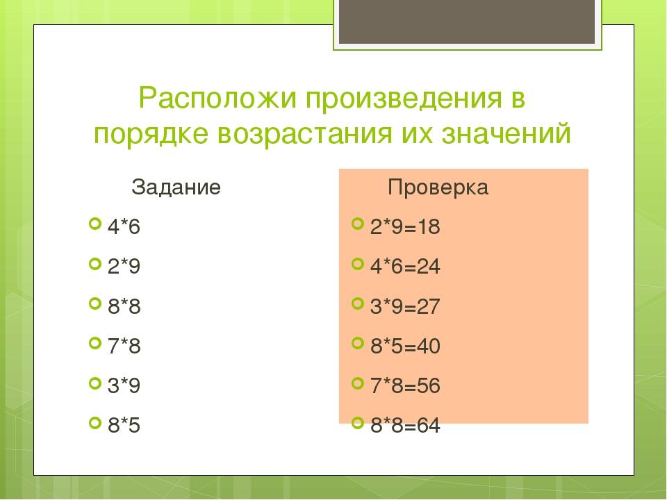 Расположи произведения в порядке возрастания их значений Задание 4*6 2*9 8*8...