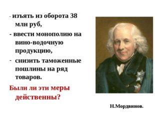 - изъять из оборота 38 млн руб, - ввести монополию на вино-водочную продукцию