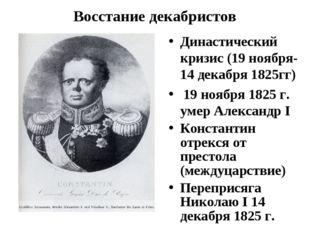 Восстание декабристов Династический кризис (19 ноября-14 декабря 1825гг) 19 н
