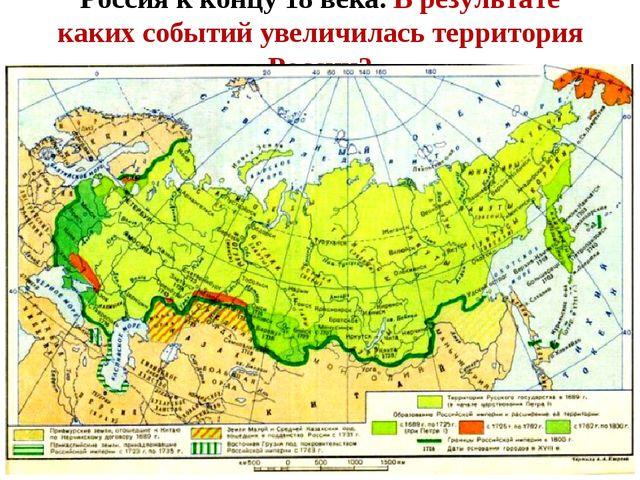Россия к концу 18 века. В результате каких событий увеличилась территория Рос...