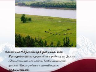 Восточно-Европейская равнина, или Русская-одна из крупнейших равнин на Земле
