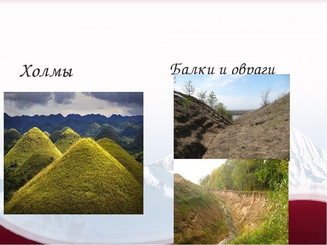 На равнинах можно встретить и отдельные возвышенности- холмы, а также углубле...