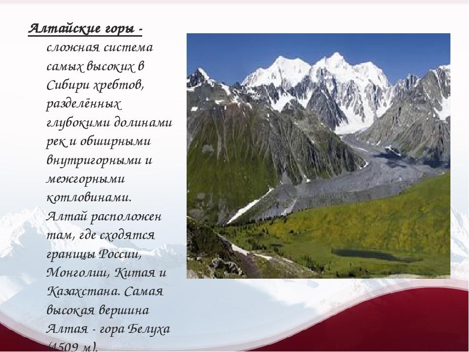 Алтайские горы - сложная система самых высоких в Сибири хребтов, разделённых...