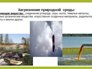 Загрязнение природной среды Загрязняющие вещества: соединения углерода, серы,