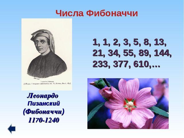 1, 1, 2, 3, 5, 8, 13, 21, 34, 55, 89, 144, 233, 377, 610,… Леонардо Пизанский...