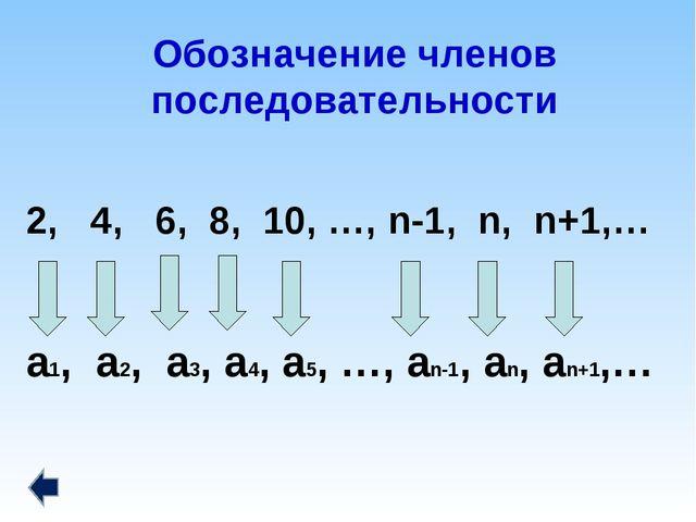 Обозначение членов последовательности 2, 4, 6, 8, 10, …, n-1, n, n+1,… a1, a2...