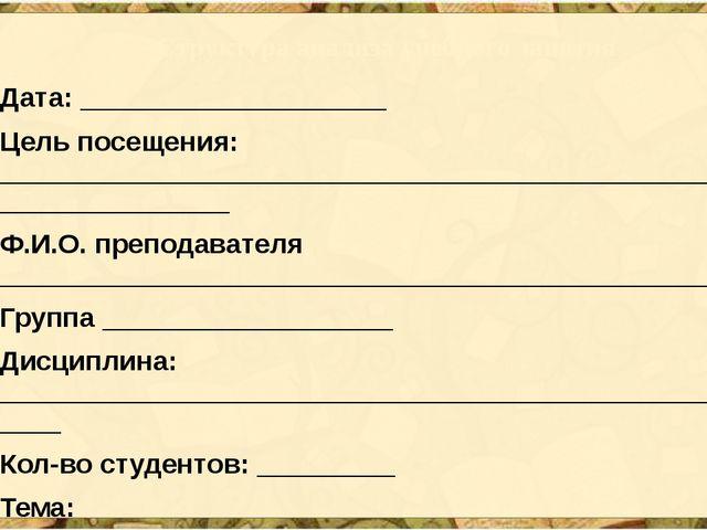Структура анализа учебного занятия Дата: ____________________ Цель посещения:...