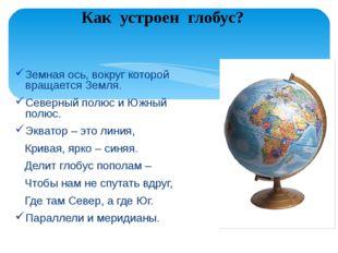 Земная ось, вокруг которой вращается Земля. Северный полюс и Южный полюс. Экв