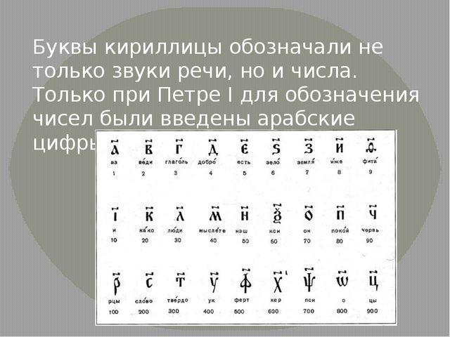 Буквы кириллицы обозначали не только звуки речи, но и числа. Только при Петре...