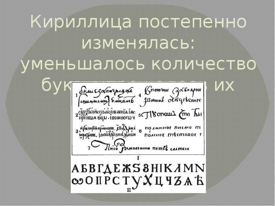 Кириллица постепенно изменялась: уменьшалось количество букв, упрощалось их н...