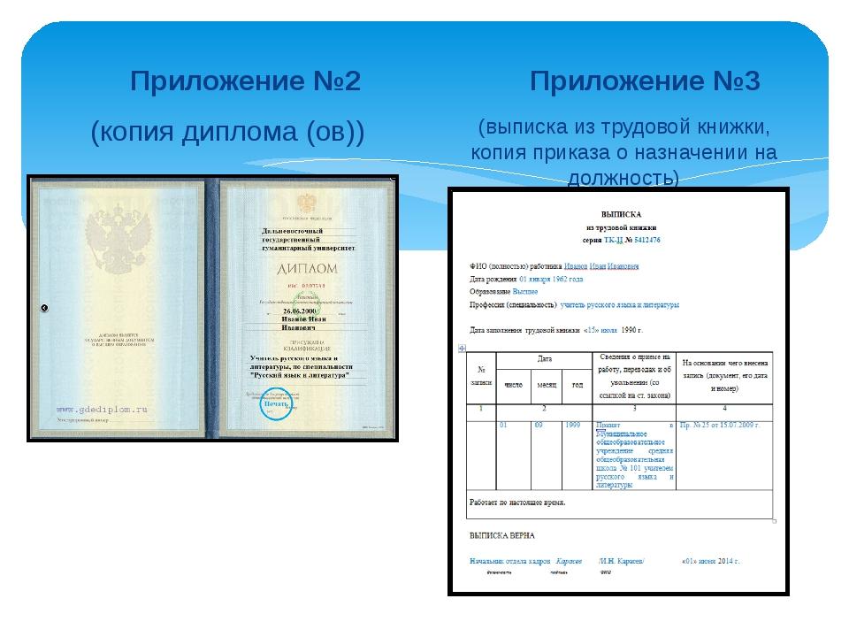 Приложение №2 (копия диплома (ов)) Приложение №3 (выписка из трудовой книжки...