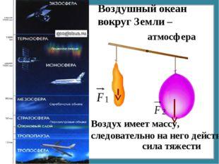 Воздушный океан вокруг Земли – Воздух имеет массу, следовательно на него дейс