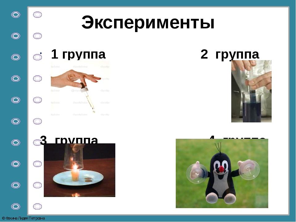 Эксперименты 1 группа 2 группа 3 группа 4 группа © Фокина Лидия Петровна