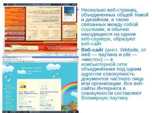 Web-сайт Несколько веб-страниц, объединенных общей темой и дизайном, а также
