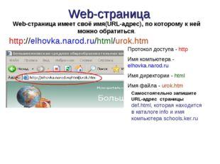 Web-страница http://elhovka.narod.ru/html/urok.htm Протокол доступа - http Им