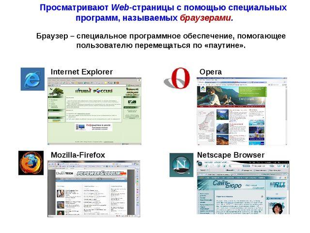 Internet Explorer Opera Mozilla-Firefox Netscape Browser Браузер – специально...