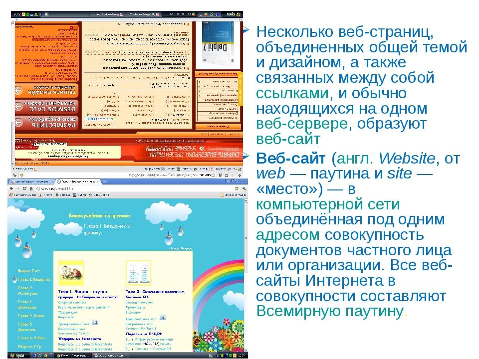 Web-сайт Несколько веб-страниц, объединенных общей темой и дизайном, а также...