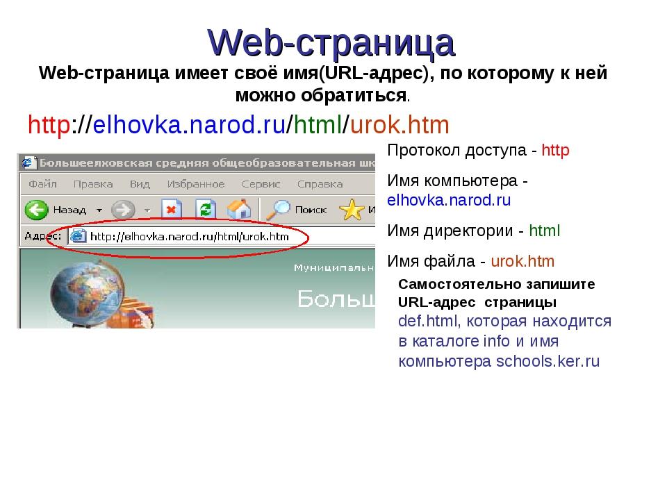 Web-страница http://elhovka.narod.ru/html/urok.htm Протокол доступа - http Им...